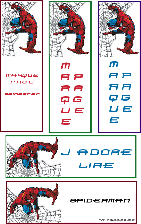 Imprime ces marques pages Spiderman !